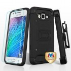 Samsung Galaxy J7 Black/Black 3-in-1 Kinetic Hybrid Case Combo (with Black Holster)(Tempered Glass Screen Protector)