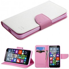 Nokia Lumia 640 White Pattern/Pink Liner wallet with Card Slot