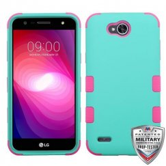 LG X Power 2 Rubberized Teal Green/Electric Pink Hybrid Case Military Grade