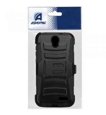 ZTE Grand X 3 / Warp 7 Black/Black Advanced Armor Stand Case with Black Holster