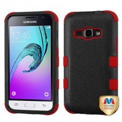 Samsung Galaxy J1 Natural Black/Red Hybrid Case