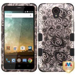 ZTE Avid Plus / Maven 2 Black Four-Leaf Clover 2D Rose Gold/Black Hybrid Case