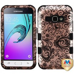 Samsung Galaxy J1 Black Four-Leaf Clover 2D Rose Gold/Black Hybrid Case