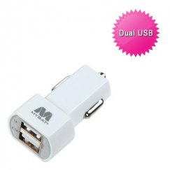 White Car Charger Adapter with Dual USB output (2.1 Amps)