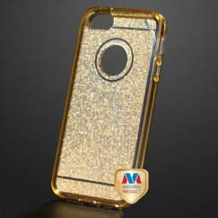 Apple iPhone SE Transparent Gold Sheer Glitter Premium Candy Skin Cover