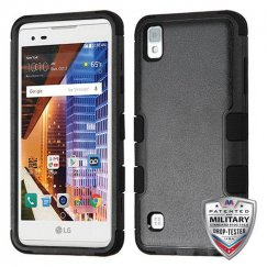 LG X Style / Tribute HD Natural Black/Black Hybrid Case - Military Grade