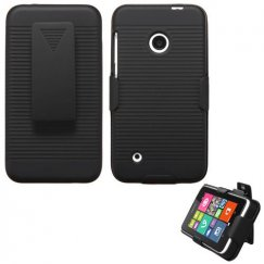 Nokia Lumia 530 Rubberized Black Hybrid Holster