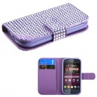 Samsung Galaxy Ring Purple Diamonds Book-Style Wallet with Card Slot