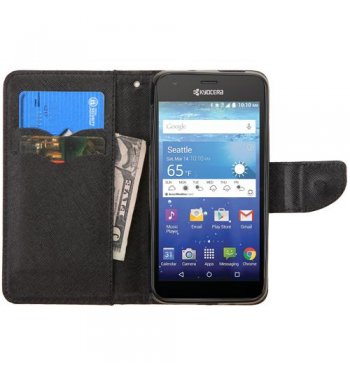 Kyocera Wave / Hydro Air Black Pattern/Black Liner wallet with Card Slot