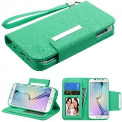 Samsung Galaxy S6 Edge Teal Green D'Lux Wallet with Magnetic Closure