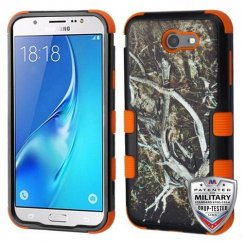 Samsung Galaxy J7 Yellow/Black Vine/Orange Hybrid Case Military Grade