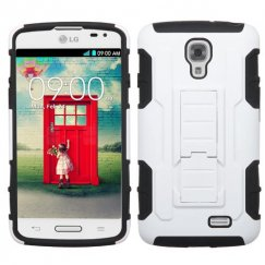 LG F70 White/Black Car Armor Stand Case - Rubberized