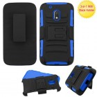 Motorola Moto G4 Play Black/Dark Blue Advanced Armor Stand Protector Cover (With Black Holster)
