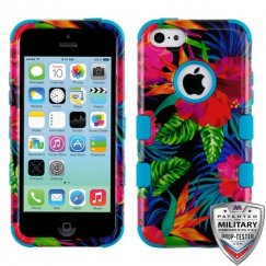 Apple iPhone 5c Electric Hibiscus/Tropical Teal Hybrid Case Military Grade