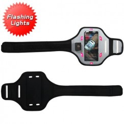 Vertical Pouch Universal Advanced Sport Armband(with Hot Pink Flashing Lights)