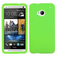 HTC One M7 Solid Skin Cover - Electric Green