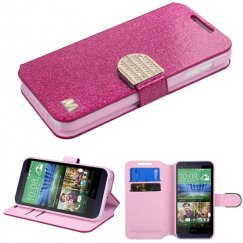 HTC Desire 510 Hot pink Glittering Wallet with Diamante Belt