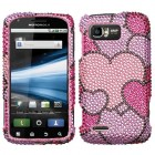 Motorola Atrix 2 Cloudy Hearts Diamante Case