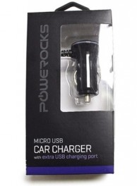 Powerocks Micro USB Car Charger with Extra USB Charging port-Black