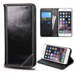 Apple iPhone 6 Plus Black Genuine Leather Wallet
