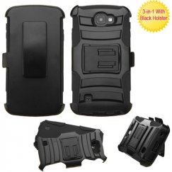 LG Optimus Zone 3 / Spree Black/Black Advanced Armor Stand Case with Black Holster