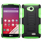 LG Tribute Black/Electric Green Car Armor Stand Protector Cover (Rubberized)