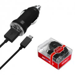 MICRO USB Black Car Charger with USB Port (2-in-1)