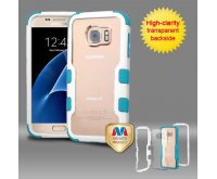 Samsung Galaxy S7 Natural Ivory White Frame????? PC Back/Tropical Teal TUFF Vivid Hybrid Protector Cover