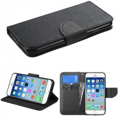 Apple iPhone 6/6s Black Pattern/Black Liner wallet with Card Slot