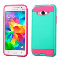 Samsung Galaxy Grand Prime Teal Green/Hot Pink Brushed Hybrid Case
