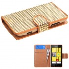 Nokia Lumia 520 Gold Diamonds Book-Style Wallet with Card Slot