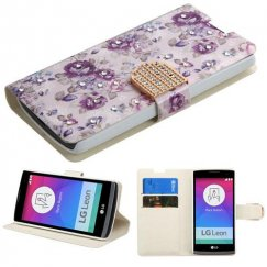 LG Leon H345 Fresh Purple Flowers Diamante Wallet with Diamante Belt