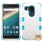 LG Nexus 5X Natural Ivory White/Tropical Teal Hybrid Phone Protector Cover
