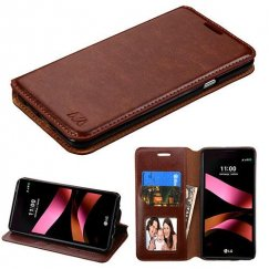 LG X Style / Tribute HD Brown Wallet with Tray
