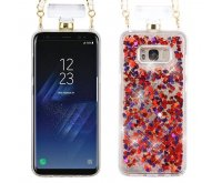 Samsung Galaxy S8 Hearts & Magenta Quicksand Glitter Diamante Perfume Bottle Protector Cover(with Chain)