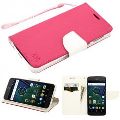 Motorola Moto G6 Hot Pink Pattern/White Liner wallet with card slot