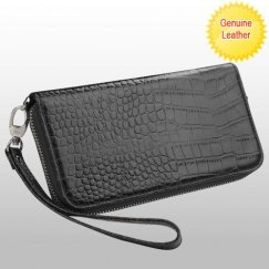 Universal Black Crocodile-Embossed Genuine Leather Wallet