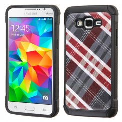 Samsung Galaxy Grand Prime Maroon/Gray Diagonal Plaid/Black Astronoot Case