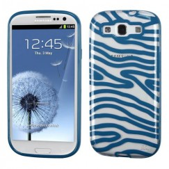 Samsung Galaxy S3 Transparent Clear/Dark Blue(Zebra Skin) Gummy Cover
