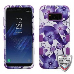 Samsung Galaxy S8 Purple Hibiscus Flower Romance/Electric Purple Hybrid Case