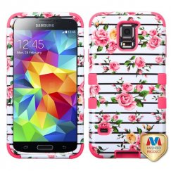 Samsung Galaxy S5 Pink Fresh Roses/Electric Pink Hybrid Case