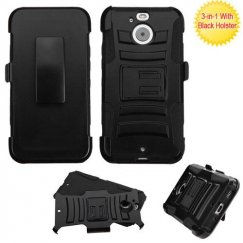 HTC Bolt Black/Black Advanced Armor Stand Case Combo with Black Holster