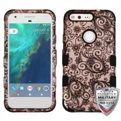 Google Pixel Black Four-Leaf Clover (2D Rose Gold)/Black Hybrid Case - Military Grade