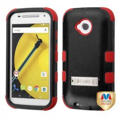 Motorola Moto E 2nd Gen Natural Black/Red Hybrid Case with Stand