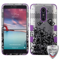 ZTE Grand X Max 2 Black Lace Flowers (2D Silver)/Electric Purple Hybrid Phone Case Military Grade