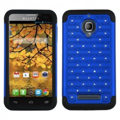 Alcatel One Touch Fierce Dark Blue/Black Luxurious Lattice Dazzling TotalDefense Case