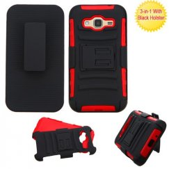 Samsung Galaxy J3 Black/Red Advanced Armor Stand Case with Black Holster