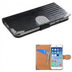 Apple iPhone 6/6s Black Crocodile Skin Wallet with Metal Diamonds Buckle & Silver Plating Tray