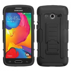 Samsung Galaxy Avant Black/Black Car Armor Stand Case - Rubberized