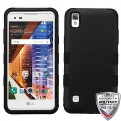LG X Style / Tribute HD Rubberized Black/Black Hybrid Case - Military-Grade Certified